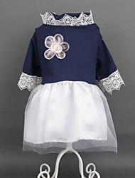 abordables -Chien Combinaison-pantalon Princesse Vêtements pour Chien Bleu Costume Coton Dentelle Princesse Robes et Jupes Dentelle S M L XL XXL