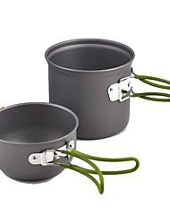 Недорогие -Походный чайник Все для приготовления пищи на улице 1 Чехол в комплекте за 2 человека Нержавеющая сталь на открытом воздухе Походы Черный