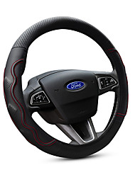 cheap -Steering Wheel Cover Universal Genuine Leather Car Steering Wheel Cover 38CM Anti Slip Breathable Protector Car Accessory Year Round Use for Ford Focus/Escort/Fiesta