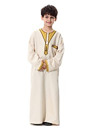 cheap -Kids Boys' Casual Abaya Party Daily Solid Colored Embroidered Long Sleeve Long Suit & Blazer Beige