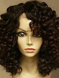 cheap -Human Hair Glueless Lace Front Lace Front Wig style Brazilian Hair Curly Wig 130% Density with Baby Hair Natural Hairline Unprocessed Glueless Women's Short Medium Length Human Hair Lace Wig EVA HAIR
