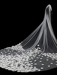 abordables -Deux couches Style moderne / Accessoires / A Fleurs Voiles de Mariée Voiles Blush / Voiles chepelle avec Appliques Tulle / Cascade / Bord en dentelle