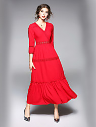 cheap -Women's Maxi Red White Dress Street chic Fall Going out Work A Line Solid Colored V Neck S M