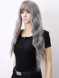 cheap -Synthetic Wig Curly Curly Asymmetrical With Bangs Wig Long Grey Natural Black Synthetic Hair Women's Highlighted / Balayage Hair Black Gray