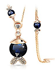 cheap -Women's Crystal Pendant Necklace Fish Ladies Classic Fashion Crystal Imitation Diamond Alloy Dark Gray Dark Blue Necklace Jewelry One-piece Suit For Daily