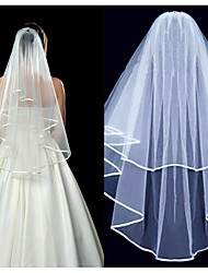 cheap -Two-tier Solid Color Wedding Veil with Ruched Elastane / Mantilla