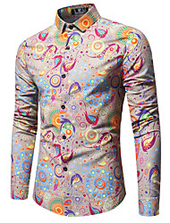 cheap -Men's Print Slim Shirt Business Street chic Daily Going out Weekend Red / Blushing Pink / Navy Blue / Long Sleeve