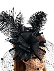 cheap -Feather / Net Fascinators / Flowers / Hats with Feathers / Fur 1pc Wedding / Special Occasion Headpiece