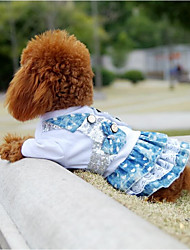 cheap -Cat Dog Dress Dog Clothes Blue Costume Fabric Color Block Sequin Lace Stylish Cowboy XS S