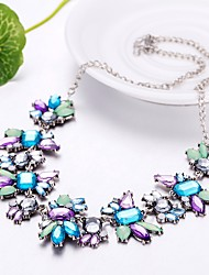cheap -Women's Crystal Statement Necklace Flower Ladies Bohemian Boho Oversized Acrylic Resin Plastic Light Blue Necklace Jewelry For Party Evening Party