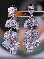 cheap -Women's Cubic Zirconia Stud Earrings Leaf Fashion Silver Plated Earrings Jewelry White For Wedding Evening Party One-piece Suit