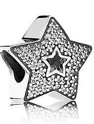 cheap -DIY Jewelry 1 pcs Beads Imitation Diamond Alloy Silver Star Bead 0.5 cm DIY Necklace Bracelet