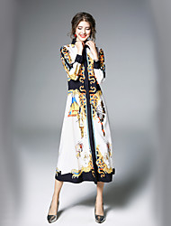 cheap -Women's Maxi White Dress Street chic Fall Daily Work A Line Swing Shirt Collar Print M L
