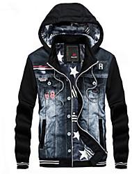 cheap -Men's Daily Punk & Gothic Fall / Winter Regular Jacket, Print Hooded Long Sleeve Others / Denim Black / Gray L / XL / XXL