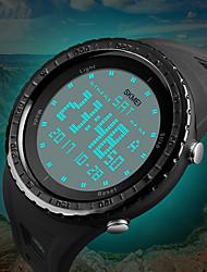 Недорогие -SKMEI Муж. Спортивные часы электронные часы Цифровой Стеганная ПУ кожа Черный / Синий / Зеленый 50 m Защита от влаги Календарь Секундомер Цифровой Роскошь На каждый день Мода - Серый Зеленый Синий