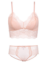 cheap -Women's Wireless Lace Bras Full Coverage Bras & Panties Sets Solid Colored Floral Black Blushing Pink Beige