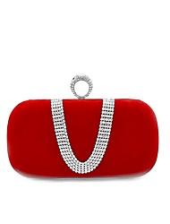 abordables -Femme Détail Cristal Velours Pochette Sacs de soirée en cristal strass Rouge