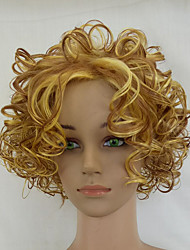 cheap -Synthetic Wig Curly Curly Wig Blonde Medium Length Blonde Synthetic Hair Blonde hairjoy