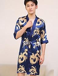 abordables -Homme Le style rétro / Tendance Robe de chambre / Satin & Soie Vêtement de nuit Fleur Rouge Rose Claire Bleu Marine L XL XXL