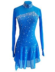 cheap -SKMEI Figure Skating Dress Women's Girls' Ice Skating Dress Sky Blue Spandex Stretch Yarn Stretchy Competition Skating Wear Sequin Long Sleeve Figure Skating
