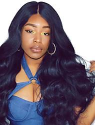 Недорогие -Натуральные волосы Лента спереди Парик С пушком стиль Монгольские волосы Естественные кудри Kinky Curly Парик 250% Плотность волос Природные волосы Жен. Средние Длинные / Кудрявый вьющиеся