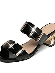 cheap -Women's Sandals Glitter Crystal Sequined Jeweled Chunky Heel Open Toe PU Comfort Spring / Summer White / Black / EU39