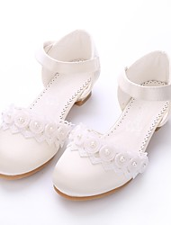 cheap -Girls' Lace / Satin Heels Little Kids(4-7ys) / Big Kids(7years +) Tiny Heels for Teens Imitation Pearl / Appliques / Magic Tape Beige / Light Pink Spring / Summer / Wedding / Party & Evening / TR