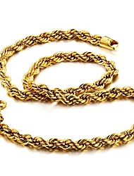 cheap -Men's Chain Necklace Foxtail chain Dookie Chain Mariner Chain Rock Fashion Hip-Hop Dubai Titanium Steel Gold Plated Titanium Gold Necklace Jewelry For Daily Street
