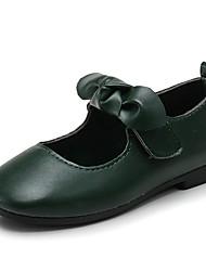 cheap -Girls' Comfort / Flower Girl Shoes Leatherette Flats Little Kids(4-7ys) Bowknot / Magic Tape Black / Brown / Dark Green Spring / Fall / TPU (Thermoplastic Polyurethane)
