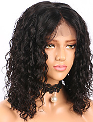 cheap -Human Hair Glueless Lace Front Lace Front Wig Bob Short Bob Middle Part style Brazilian Hair Curly Water Wave Wig 130% Density with Baby Hair Natural Hairline Glueless Pre-Plucked Women's Human Hair