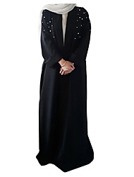 cheap -Arabian Dress Abaya Kaftan Dress Women's Pearl Fashion Festival / Holiday Polyster Black / Red / Brown Carnival Costumes Solid Colored