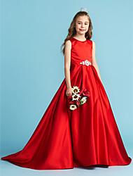 cheap -Princess / A-Line Jewel Neck Floor Length Satin Junior Bridesmaid Dress with Bow(s) / Pleats / Crystals