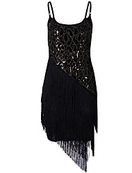 cheap -Charleston 1920s The Great Gatsby Roaring Twenties Summer Flapper Dress Dress Women's Sequins Costume Black / Golden Vintage Cosplay Party Prom Short Sleeve Short / Mini
