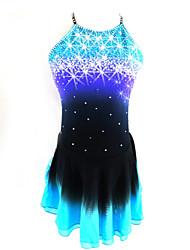 cheap -SKMEI Figure Skating Dress Women's Girls' Ice Skating Dress Black / Blue Open Back Halo Dyeing Spandex Competition Skating Wear Sequin Sleeveless Figure Skating