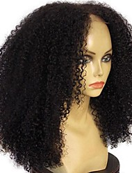 cheap -Human Hair Unprocessed Human Hair Glueless Lace Front Lace Front Wig Middle Part style Mongolian Hair Curly Afro Curly Wig 130% Density with Baby Hair Natural Hairline 100% Virgin Unprocessed