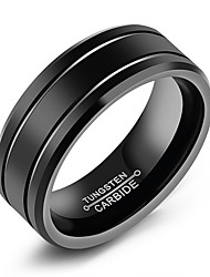 cheap -Men's Band Ring Groove Rings Black Titanium Steel Tungsten Steel Titanium Circle Fashion Initial Daily Formal Jewelry Classic Classic Theme