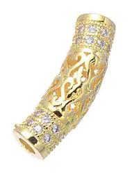 cheap -DIY Jewelry 1 pcs Beads Imitation Diamond Alloy Gold Silver Rose Gold Tube Shape Bead 0.5 cm DIY Necklace Bracelet