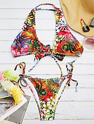 abordables -Femme Fleur Bohème Rouge Bikinis Maillots de Bain - Imprimé M L XL Rouge