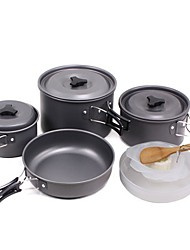 cheap -Camping Pot Outdoor Cookware 1 set Wearable for 3 - 4 person Stainless Steel Outdoor Camping Black