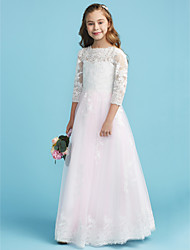 cheap -A-Line / Princess Crew Neck Floor Length Lace Junior Bridesmaid Dress with Lace