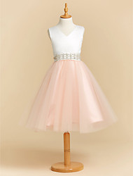 cheap -Ball Gown Tea Length Flower Girl Dress - Satin / Tulle Sleeveless V Neck with Crystals / Sash / Ribbon