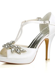 cheap -Women's Wedding Shoes Stiletto Heel Peep Toe Crystal / Buckle Stretch Satin Basic Pump Summer Ivory / Party & Evening