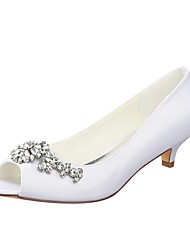 cheap -Women's Wedding Shoes Kitten Heel Peep Toe Crystal Stretch Satin Basic Pump Spring / Summer White / Party & Evening