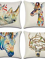 cheap -4 pcs Cotton / Linen Pillow Cover, 3D Retro Animal