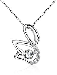 cheap -Women's Cubic Zirconia Moissanite Pendant Necklace Bird Classic Vintage Fashion Zircon Silver Silver Necklace Jewelry One-piece Suit For Wedding Engagement