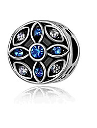 cheap -DIY Jewelry 1 pcs Beads Imitation Diamond Alloy Silver Round Heart Bead 0.2 cm DIY Necklace Bracelet