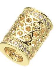 cheap -DIY Jewelry 1 pcs Beads Imitation Diamond Alloy Gold Silver Rose Gold Cylinder Bead 0.5 cm DIY Necklace Bracelet