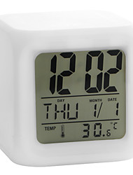 cheap -Colorful Glowing Cubic Digital Alarm Clock Calendar Thermometer 1pc(White, 4xAAA) 9cm*8.5cm