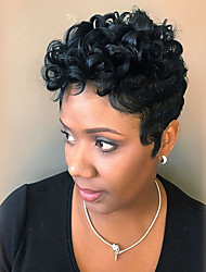 cheap -Human Hair Blend Wig Short Afro Jerry Curl Pixie Cut Short Hairstyles 2020 Berry Afro Jerry Curl African American Wig Machine Made Natural Black #1B 8 inch