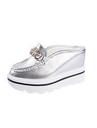 cheap -Women's Sandals Wedge Heel PU Comfort Summer White / Gold / Silver